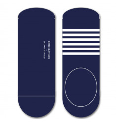 Democratique Socks x Sneaker Banquet Originals Sneaker Invisible 3-Pack Navy / Broken White Stripes