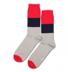 Democratique Socks ORIGINALS BLOCK PARTY Sand / Spring Red / Navy
