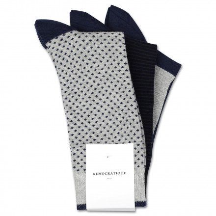 Originals Solid 3-pack No Brainer 2 One of each assorted: Light Grey Melange/Navy Dots, Black/Navy Stripes, Black/Grey/Navy