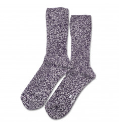Edwin Jeans x Democratique Socks Relax Rib Sock Supermelange Dark Purple / Off White