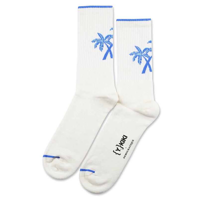 90029d9b46 YKIKI x Democratique Socks Athletique Classique Motif Off White-Adams  Blue-Poolside Green ...