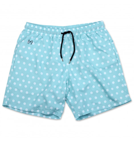 8818788b22 YKIKI x DEMOCRATIQUE POLKADOT SWIM TRUNKS CLEAR WHITE / POOLSIDE GREEN