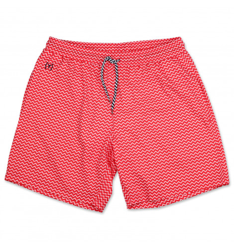 cc60806ed9 YKIKI ZIG ZAG SWIM TRUNKS SPRING RED / CLEAR WHITE