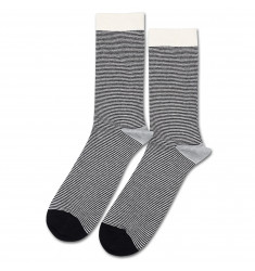 Democratique Socks Originals Ultralight Stripes 6-pack Black - Off White - Light Grey Melange