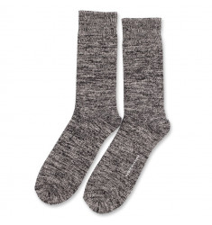 Democratique Socks Relax Chunky Flat Knit Supermelange 6-pack  Black - Light Grey Melange