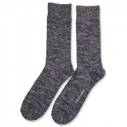 Democratique Socks Relax Chunky Flat Knit Supermelange 6-pack  Navy Melange - Light Grey Melange - Charcoal Melange