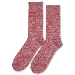 Democratique Socks Relax Chunky Flat Knit Supermelange 6-pack Red Wine - Pale Skin - Burnt Rust - Palm Springs Blue