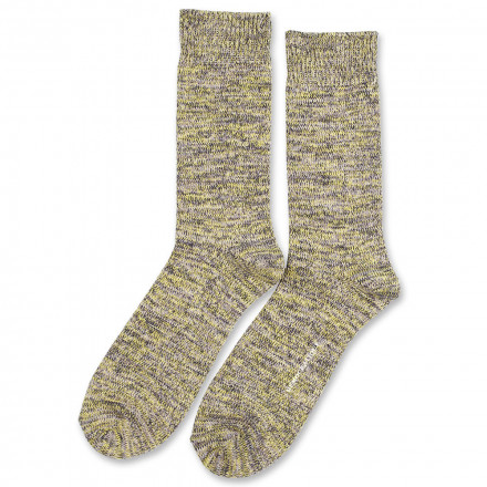 Democratique Socks Relax Chunky Flat Knit Supermelange 6-pack Warm Grey - Soft Grey - Bright Yellow - Navy