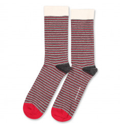 Democratique Socks Originals Ultralight Stripes 6-pack Charcoal Melange - Pearl Red - Light Grey Melange - Off White