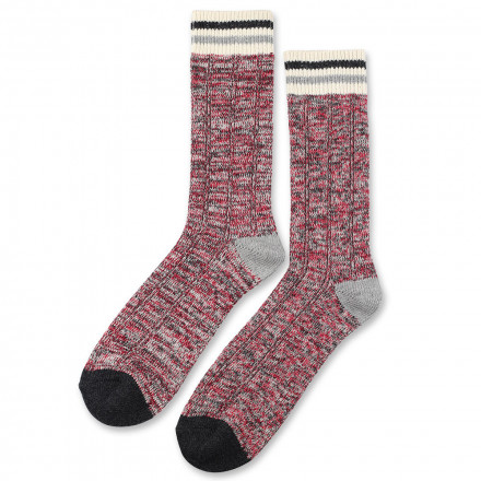 Democratique Socks Cable Knit 6-pack Pearl Red - Light Grey Mel - Charcoal Mel - Off White