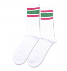 Athletique Classique Stripes Clear White/Tennis Green/Purplish Pink 6-pack