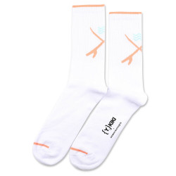 YKIKI x Democratique Socks Athletique Classique Motif Clear White/Light Salmon/Poolside Green 6-pack