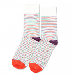 Democratique Socks Originals Ultralight Stripes Off White / Blood Orange / Greenday / Heavy Plum