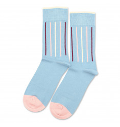 Democratique Socks Originals Latitude Striped Palm Springs Blue / Off White / Pale Pink / Heavy Plum