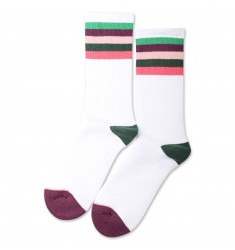 Democratique Socks Athletique Classique Motif Stripes Clear White / Greenday / Heavy Plum / Pale Pink / Deep Green / Watermelon
