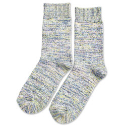 Democratique Socks Relax Chunky Flat Knit Supermelange Palm Springs Blue / Shaded Blue / Off White / Yellow Sun / Pale Pink