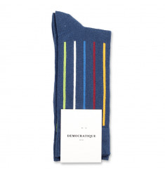 Democratique Socks Originals Latitude Striped 6-pack Dark Ocean Blue - Hot Curry - Dark Plum - Adams Blue - Off White - Gr Green