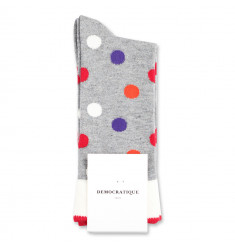 Democratique Socks Originals DotCom 6-pack Light Grey Melange - Off White - Orange County - Pearl Red - Purple Rain