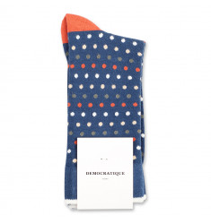 Democratique Socks Originals Polkadot 6-pack Dark Ocean Blue - Dusty Orange - Army - Off White - Dark Sand