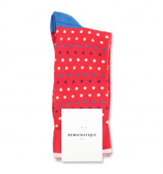 Democratique Socks Originals Polkadot 6-pack Rosehips - Violet - Off White - Adams Blue - Dark Sand