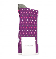 Democratique Socks Originals Polkadot 6-pack Violet - Pink Grape - Pink Fleur - Army - Off White