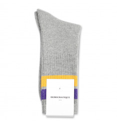 Democratique Socks Athletique Classique Stripes 6-pack Light Grey Melange - Purple Rain - Hot Curry
