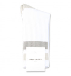 Democratique Socks Athletique Classique Stripes 6-pack Clear White / Soft Grey / Stone / Benzin