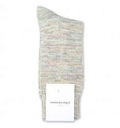 Democratique Socks Relax Chunky Flat Knit Supermelange 6-pack Abricos / Army / Pale Green / Off White