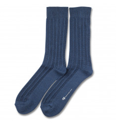 Democratique Socks RELAX BUBBLE LINE KNIT SUPERMELANGE Denim Melange