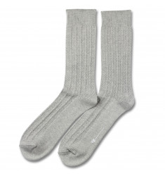 Democratique Socks RELAX BUBBLE LINE KNIT SUPERMELANGE Light Grey Melange