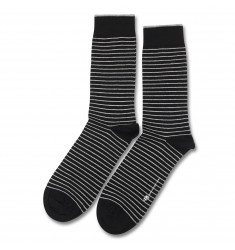 Democratique Socks ORIGINALS MINI STRIPER Black / Light Grey Melange