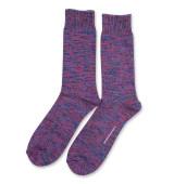 Democratique Socks Relax Chunky Flat Knit Supermelange 6-pack  Adams Blue - Purplish Pink - Navy - Warm Grey