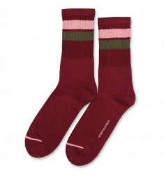 Democratique Socks Athletique Classique Stripes 6-pack Red Wine - Pale Skin - Army