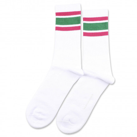 Athletique Classique Stripes Clear White/Tennis Green/Purplish Pink 6-pack
