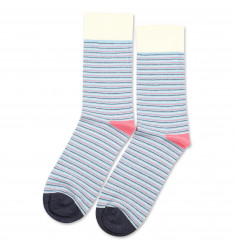 Democratique Socks Originals Ultralight Stripes Palm Springs Blue / Shaded Blue / Off White / Watermelon