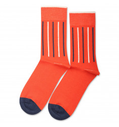 Democratique Socks Originals Latitude Striped Blood Orange / Off White / Shaded Blue