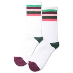 Democratique Socks Athletique Classique Motif Stripes Clear White / Greenday / Heavy Plum / Pale Pink / Deep Green / Watermelon