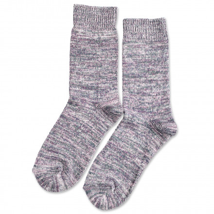 Democratique Socks Relax Chunky Flat Knit Supermelange Pale Pink / Off White / Deep Green / Shaded Blue / Heavy Plum