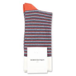Democratique Socks Originals Ultralight Stripes 6-pack Dark Ocean Blue - Dusty Orange - Army - Off White