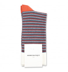 Democratique Socks Originals Ultralight Stripes 6-pack Dark Ocean Blue - Dusty Orange - Army - Off White