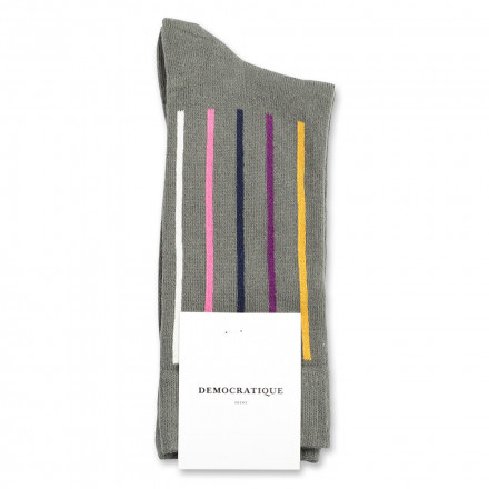 Democratique Socks Originals Latitude Striped 6-pack Army - Hot Curry - Violet - Navy - Pink Fleur - Off White
