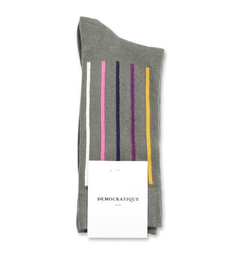 Democratique Socks Originals Latitude Striped 6-pack Army - Hot Curry - Violet - Navy - Pink Fleur - Off White