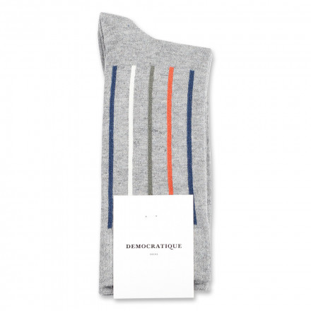 Democratique Socks Originals Latitude Striped 6-pack Light Grey Melange - Dark Ocean Blue - Dusty Orange - Army - Off White