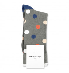 Democratique Socks Originals DotCom 6-pack Army - Dusty Orange - Dark Ocean Blue - Off White - Dark Sand