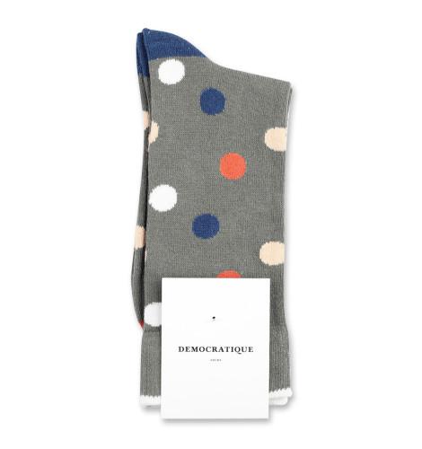 Democratique Socks Originals DotCom 6-pack Army - Dusty Orange - Dark Ocean Blue - Off White - Dark Sand