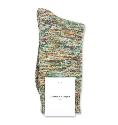 Democratique Socks Relax Chunky Flat Knit Supermelange 6-pack Hot Curry - Dark Plum - Off White - Grass Green