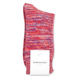 Democratique Socks Relax Chunky Flat Knit Supermelange 6-pack Pearl Red - Purple Rain - Off White - Orange County