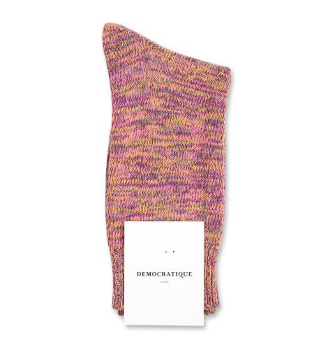 Democratique Socks Relax Chunky Flat Knit Supermelange 6-pack Violet - Pink Fleur - Army - Hot Curry