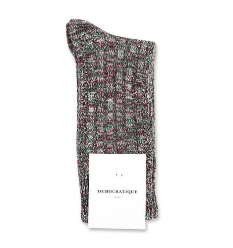 Democratique Socks Relax Schooner Knit Supermelange 6-pack Dark Plum - Off White - Grass Green