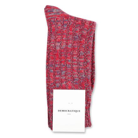 Democratique Socks Relax Schooner Knit Supermelange 6-pack Pearl Red - Dark Ocean Blue - Light Grey Melange